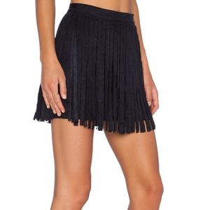 BB Dakota • Black Faux Suede Fringe Skirt • Sz 6